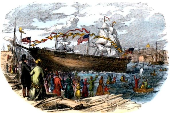 """Mise à l'eau du clipper """"flying cloud"""" à Boston en 1851. Il joignit lors de son 1er voyage New-York à San Francisco en 89 jours, au lieu des 200 qu'il fallait jusque là."""